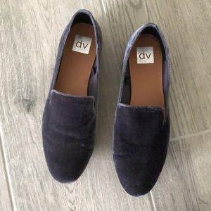 Blue velvet loafers